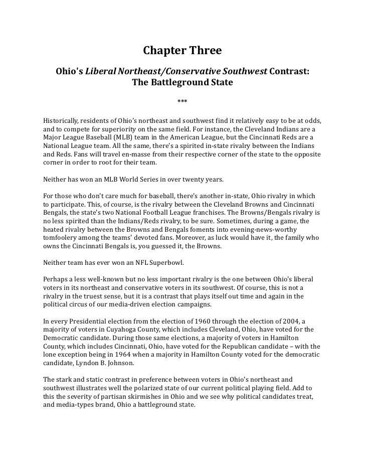 Chapter	  Three      Ohios	  Liberal	  Northeast/Conservative	  Southwest	  Contrast:	                                The	...