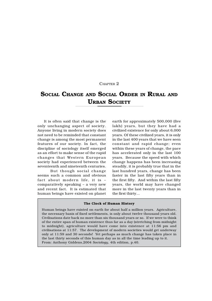 CHAPTER 2 SOCIAL CHANGE              AND  SOCIAL ORDER                IN   RURAL       AND                              UR...