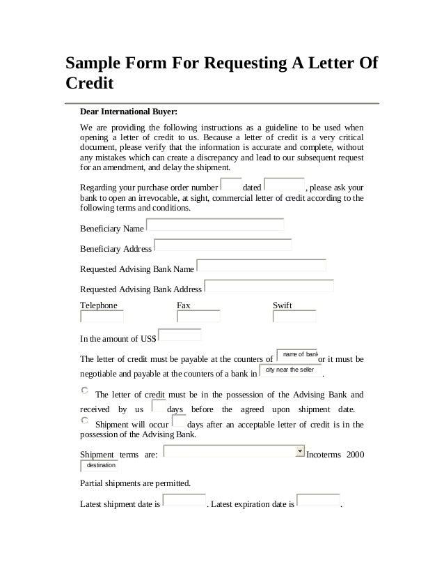 Irrevocable Letter Of Credit Sample – Letter of Credit Sample