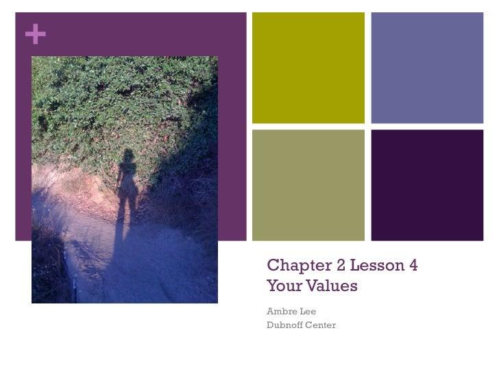 Chapter 2 Lesson 4 Your Values Ambre Lee Dubnoff Center