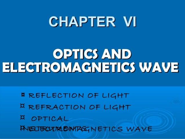 CHAPTER VICHAPTER VI OPTICS ANDOPTICS AND ELECTROMAGNETICS WAVEELECTROMAGNETICS WAVE ¤ REFLECTION OF LIGHT ¤ REFRACTION OF...