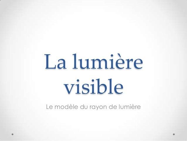 La lumière  visibleLe modèle du rayon de lumière
