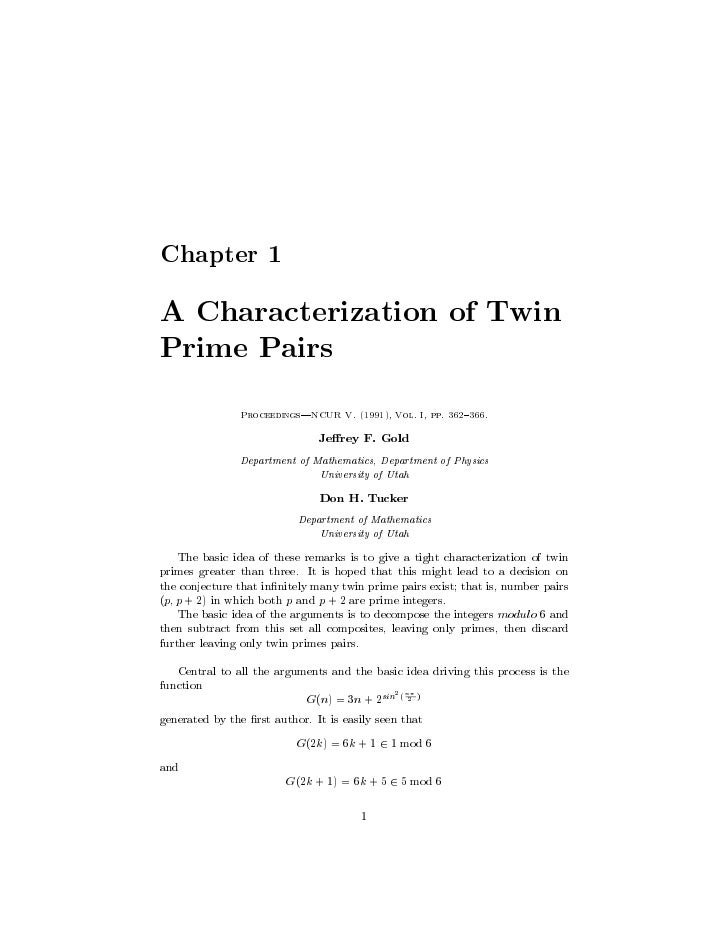 Chapter 1  A Characterization of Twin Prime Pairs                Proceedings|NCUR V. (1991), Vol. I, pp. 362{366.         ...