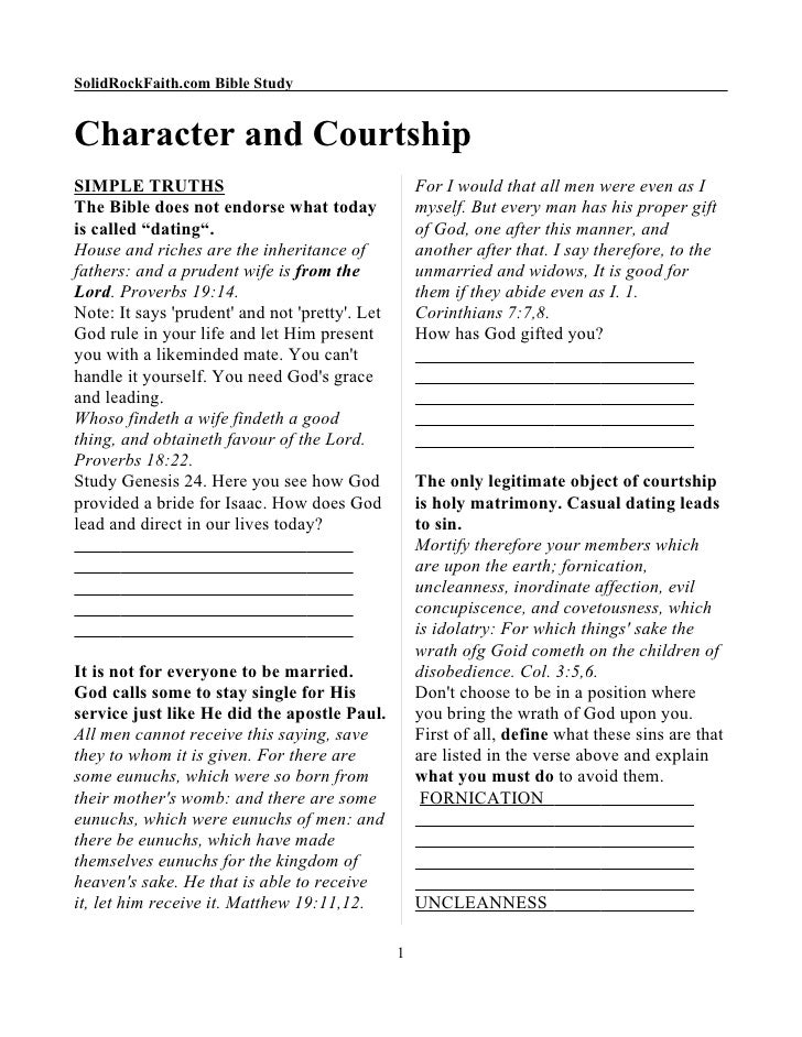 SolidRockFaith.com Bible Study   Character and Courtship SIMPLE TRUTHS                                       For I would t...