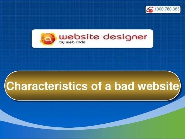Characteristics of a bad website