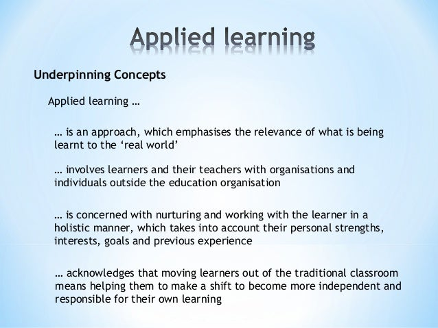 Underpinning Concepts … is an approach, which emphasises the relevance of what is being learnt to the 'real world' … invol...