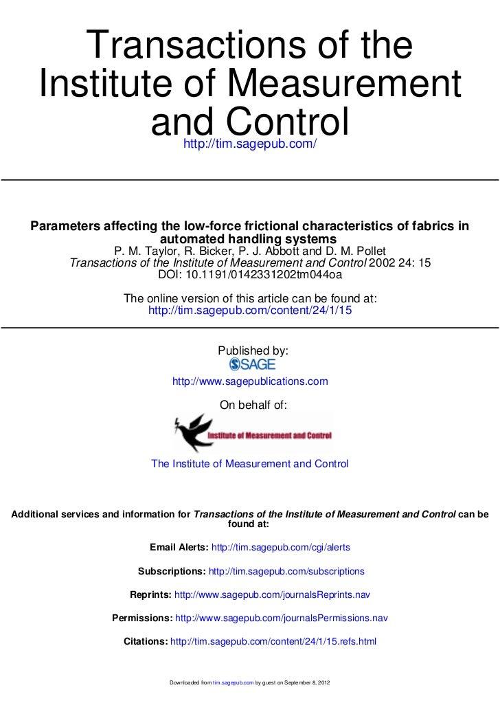 Transactions of the     Institute of Measurement             and Control               http://tim.sagepub.com/    Paramete...
