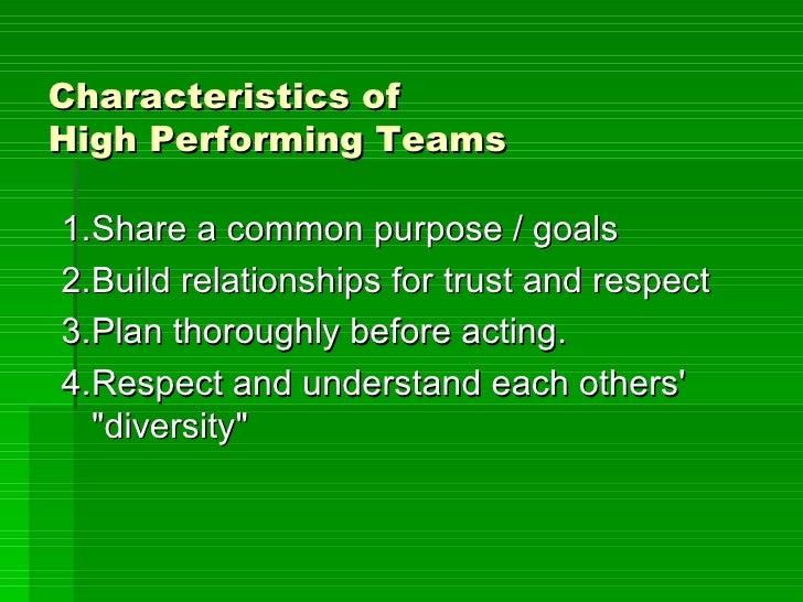Characteristics Of  High  Performing  Teams