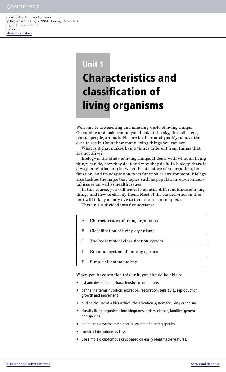 Cambridge University Press 978-0-521-68054-7 - NSSC Biology Module 1 Ngepathimo Kadhila Excerpt More information          ...