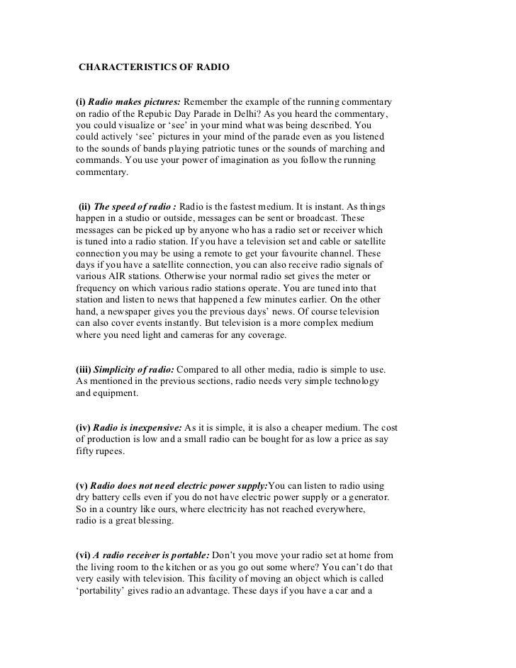 EC - Radio - Characteristics of radio