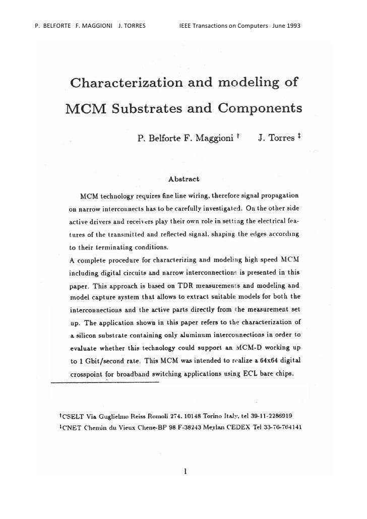 P. BELFORTE F. MAGGIONI J. TORRES   IEEE Transactions on Computers June 1993