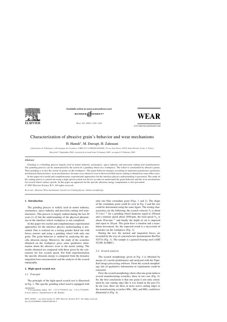 Characterization of abrasive grain's and wear mechanisms