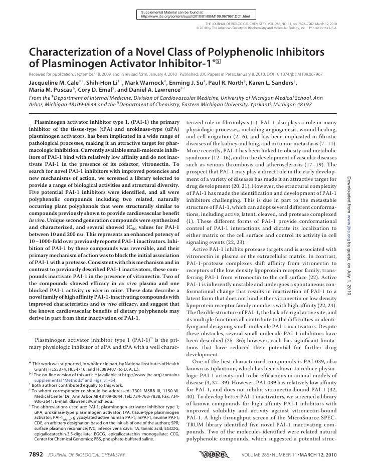 Characterization of a Novel Class of Polyphenolic Inhibitors of Plasminogen Activator Inhibitor 1