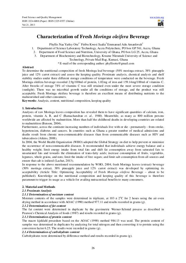 Food Science and Quality Management ISSN 2224-6088 (Paper) ISSN 2225-0557 (Online) Vol.21, 2013  www.iiste.org  Characteri...