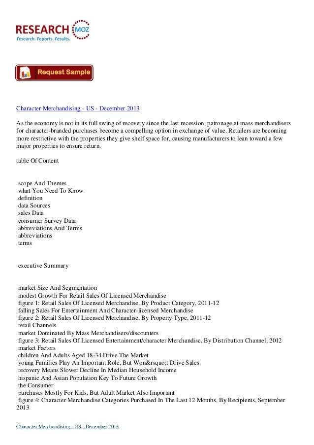 Character Merchandising Market in US to December 2013