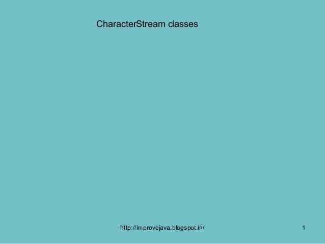 Character stream classes introd  .51