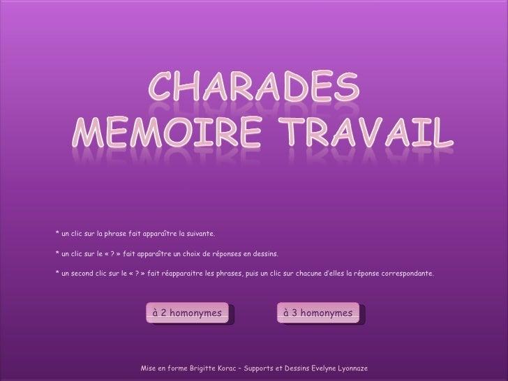 Mise en forme Brigitte Korac – Supports et Dessins Evelyne Lyonnaze à 2 homonymes à 3 homonymes * un clic sur la phrase fa...