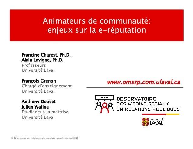 Francine Charest, Ph.D.Alain Lavigne, Ph.D.ProfesseursUniversité LavalFrançois GrenonChargé d'enseignementUniversité Laval...