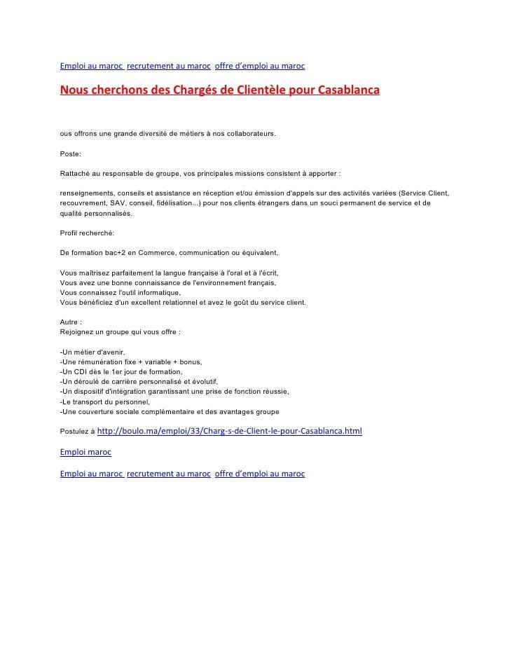 emploi au maroc charg 233 s de client 232 le pour casablanca