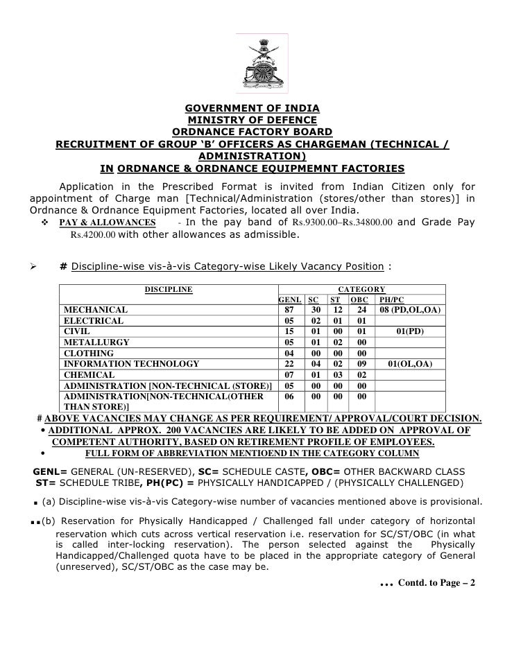 GOVERNMENT OF INDIA                          MINISTRY OF DEFENCE                        ORDNANCE FACTORY BOARD       RECRU...