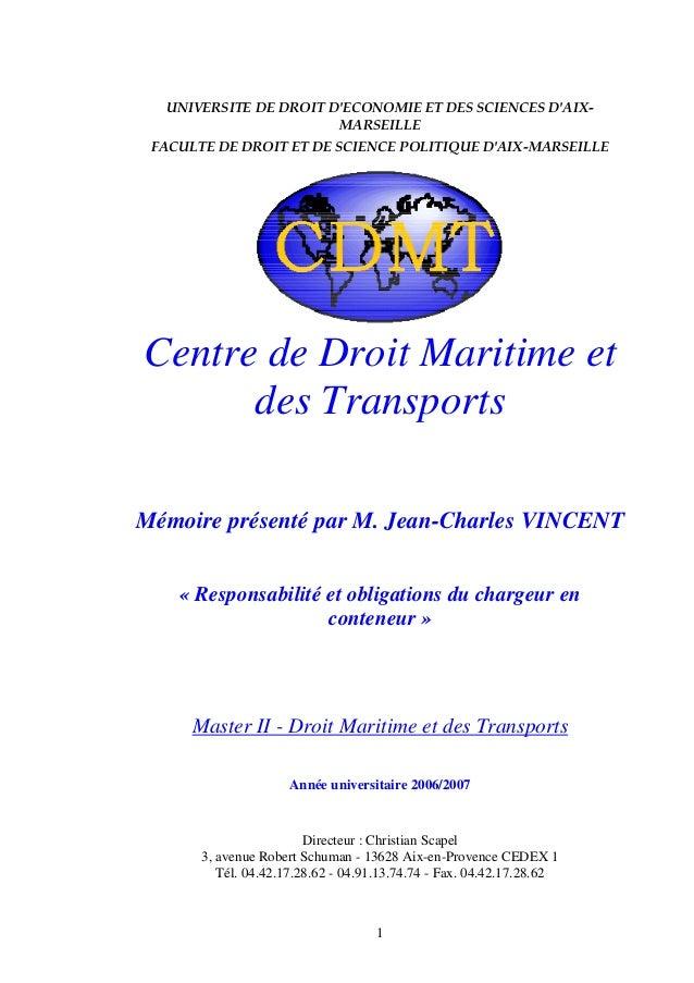 1 UNIVERSITE DE DROIT D'ECONOMIE ET DES SCIENCES D'AIX- MARSEILLE FACULTE DE DROIT ET DE SCIENCE POLITIQUE D'AIX-MARSEILLE...