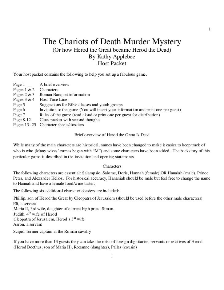 1                 The Chariots of Death Murder Mystery                      (Or how Herod the Great became Herod the Dead)...