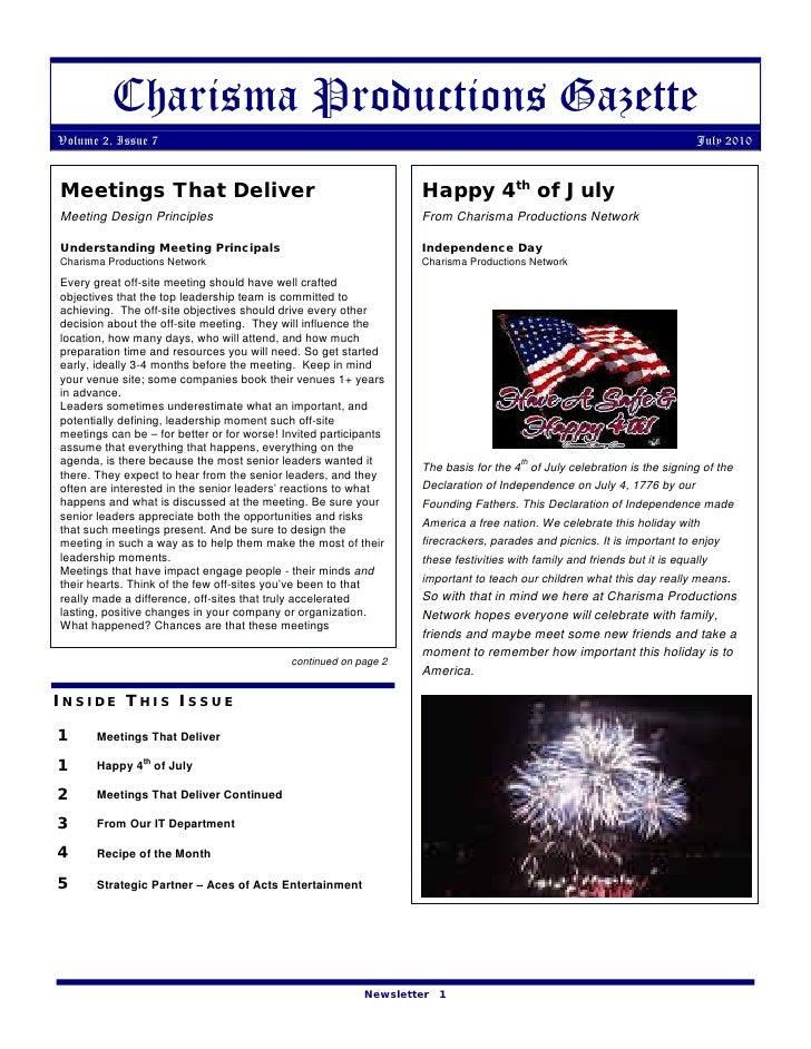 Charisma Productions Gazette Volume 2, Issue 7                                                                            ...
