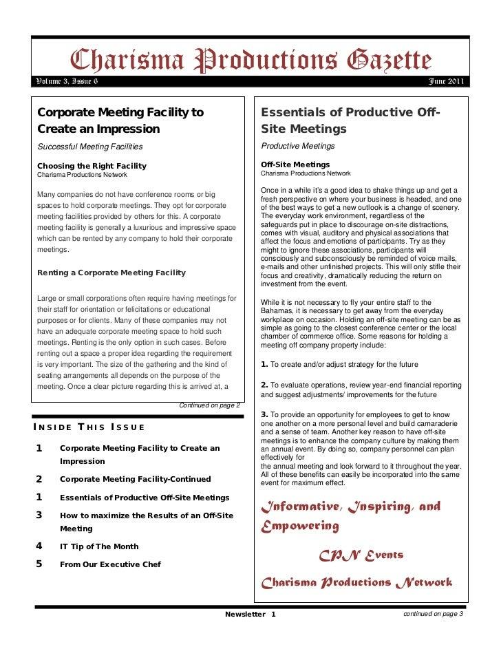 Charisma productions gazette volume 3 issue 6
