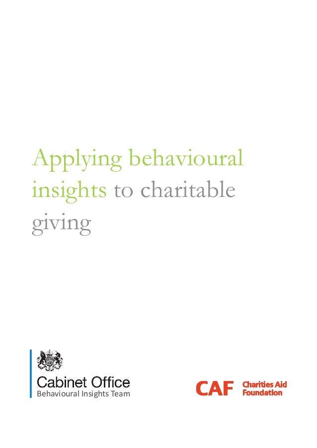 Applying behaviouralinsights to charitablegivingBehavioural Insights Team