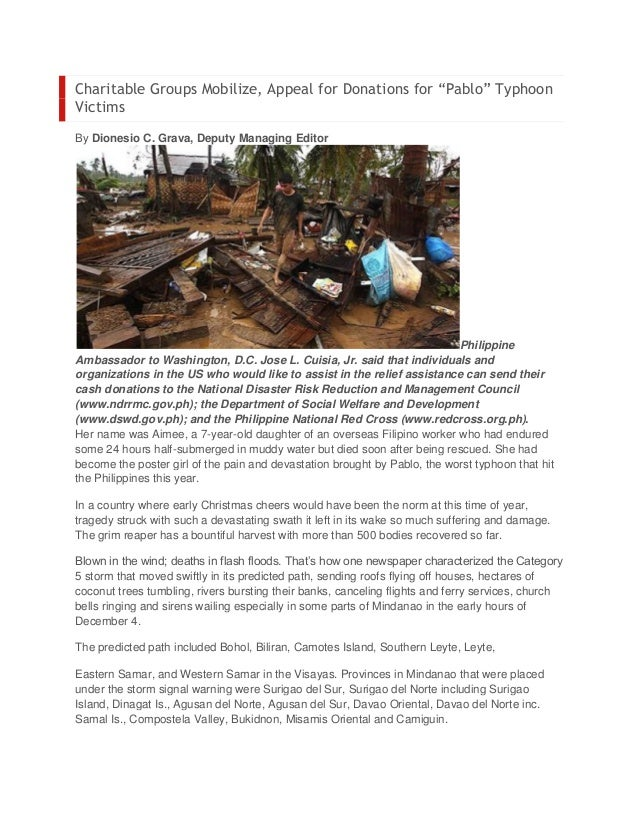 """Charitable Groups Mobilize, Appeal for Donations for """"Pablo"""" TyphoonVictimsBy Dionesio C. Grava, Deputy Managing Editor   ..."""