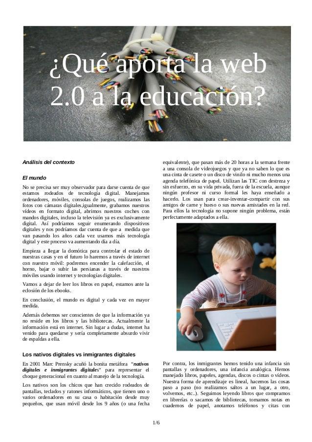 ¿Qué aporta la web 2.0 a la Educación?