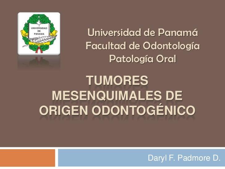 Universidad de Panamá     Facultad de Odontología         Patología Oral      TUMORES MESENQUIMALES DEORIGEN ODONTOGÉNICO ...