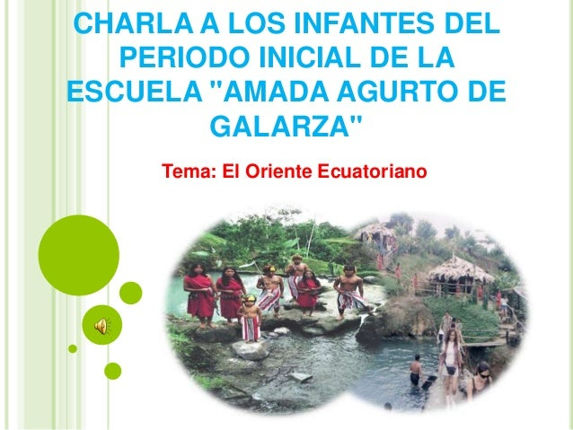 """CHARLA A LOS INFANTES DEL PERIODO INICIAL DE LA ESCUELA """"AMADA AGURTO DE GALARZA"""" Tema: El Oriente Ecuatoriano"""