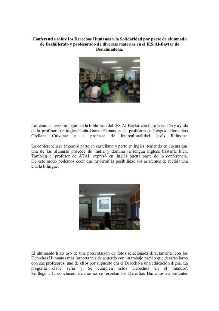 Conferencia sobre los Derechos Humanos y la Solidaridad por parte de alumnado   de Bachillerato y profesorado de diversas ...