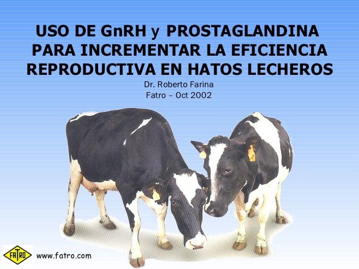 USO DE GnRH  y  PROSTAGLANDINA  PARA INCREMENTAR LA EFICIENCIA REPRODUCTIVA EN HATOS LECHEROS Dr. Roberto Farina Fatro – O...