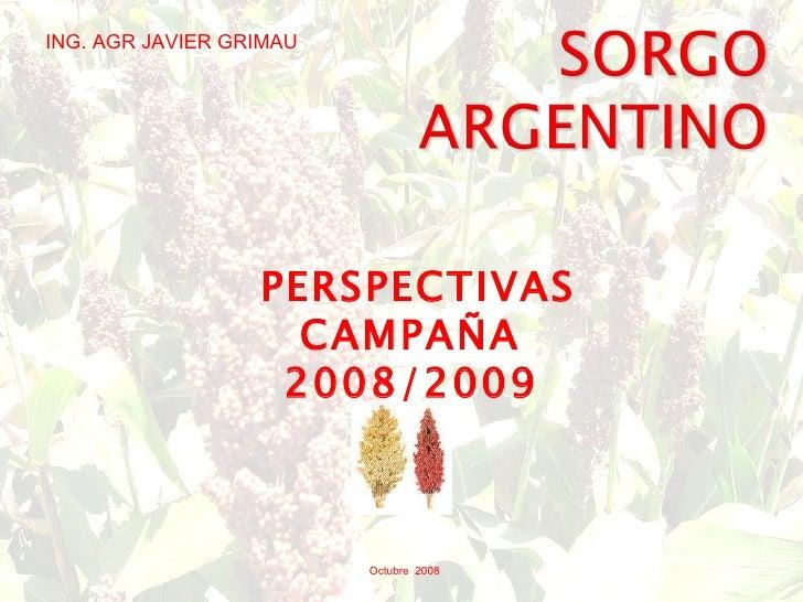 Octubre  2008 PERSPECTIVAS CAMPAÑA  2008/2009   ING. AGR JAVIER GRIMAU