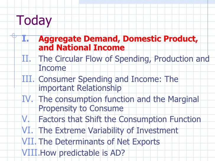 Today <ul><li>Aggregate Demand, Domestic Product, and National Income </li></ul><ul><li>The Circular Flow of Spending, Pro...