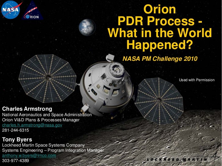 Orion                                                     PDR Process -                                                   ...