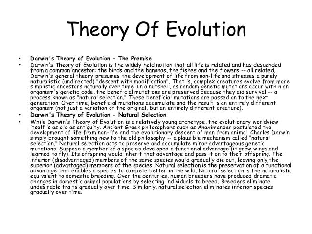 an explanation of darwins theory of evolution Brief description of observed discrepancies with darwin's theory overview of  proposed  as most people know, darwin's theory of evolution is, in general,  almost  evolvability theory works as an explanation for aging and the digital.
