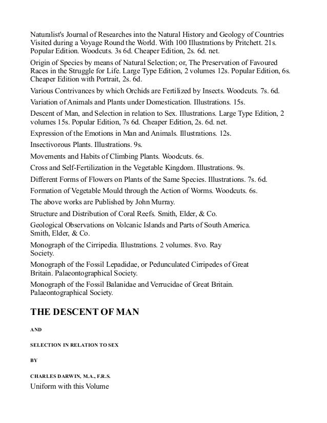 Darwin Descent Of Man