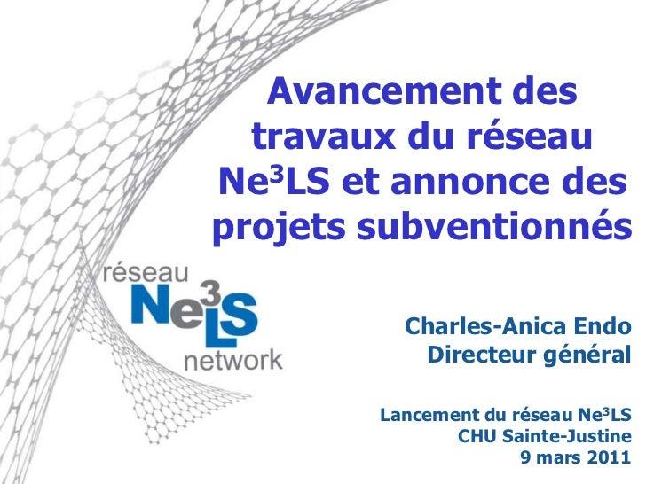 Charles-Anica Endo – Avancement des travaux du réseau Ne3LS et annonce des projets subventionnés