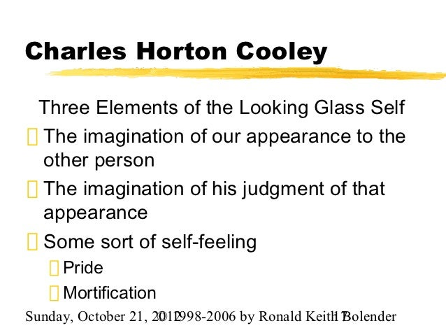 theory of the looking glass self Chapter 5 soc study play  is the theory that the self develops through a process of reflection, like a mirror feral means wild  when cooley used the term the looking-glass self, he was referring to the fact that: people see themselves as they believe other see them.