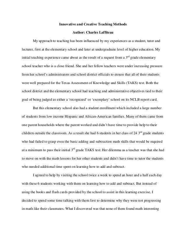 essay about first teaching experience Writing a personal experience essay - put aside your concerns, place your assignment here and get your quality essay in a few days start working on your assignment.
