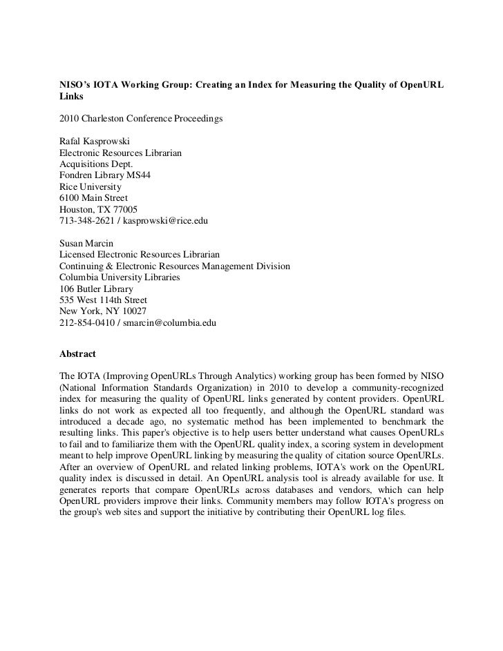 NISO's IOTA Working Group: Creating an Index for Measuring the Quality of OpenURL Links<br />2010 Charleston Conference Pr...
