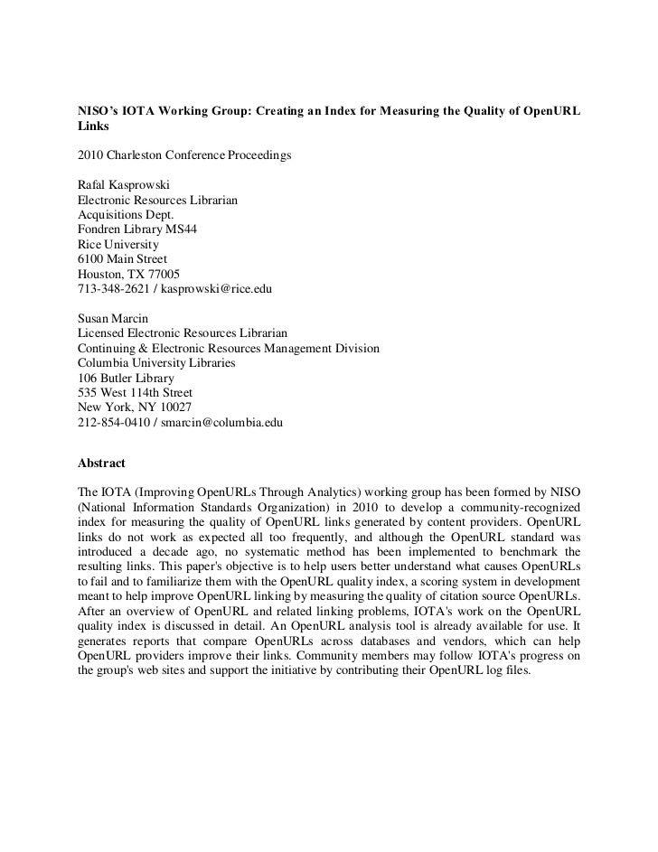 IOTA OpenURL Quality (PrePrint) 2010 Charleston Conference Proceedings