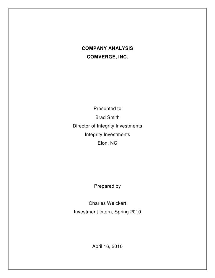 COMPANY ANALYSIS<br />COMVERGE, INC.<br />Presented to<br />Brad Smith<br />Director of Integrity Investments<br />Integri...