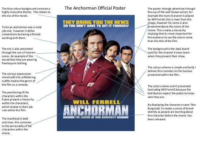 The blue colour background connotes a highly masculine theme. This relates to the era of the movie.  To be an anchorman wa...