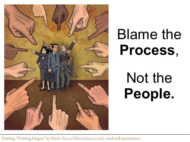 "Blame the Process, Not the People. Painting ""Pointing Fingers"" by Mario Zucca (MarioZucca.com), used with permission."