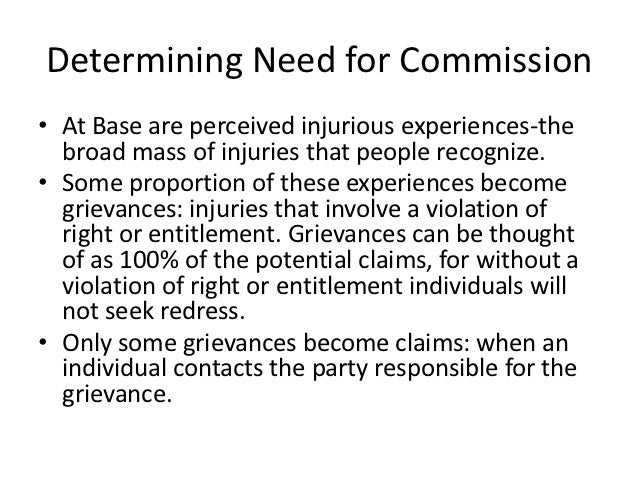 Determining Need for Commission• At Base are perceived injurious experiences-the  broad mass of injuries that people recog...