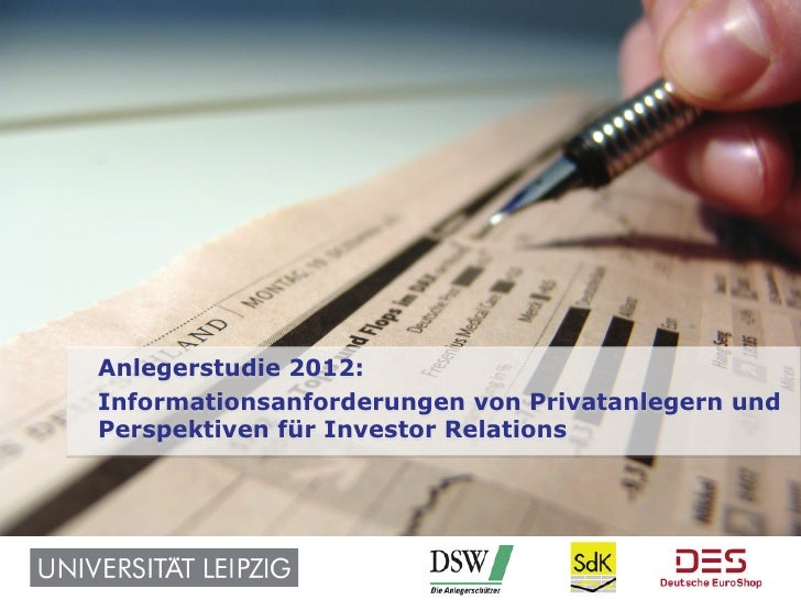 Kommunikation im Kapitalmarkt: Anlegerstudie 2012